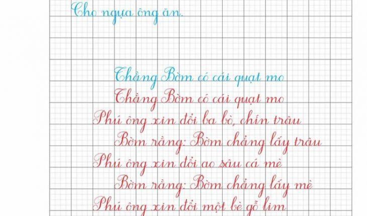 Mẫu vở chữu viết theo chuẩn bộ giáo dục và đào tạo